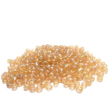 10g Skleněné korálky 3mm - rokajl oranžové s odleskem