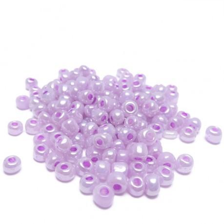 10g Skleněné korálky 4mm - rokajl světle fialové