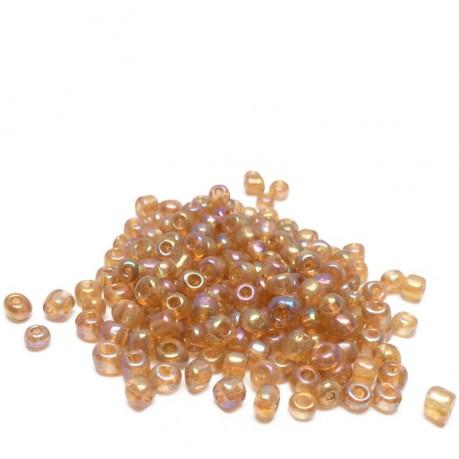 10g Skleněné korálky 4mm - rokajl oranžové s odleskem