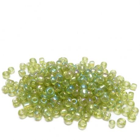 10g Skleněné korálky 3mm - rokajl zelené