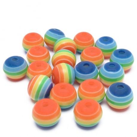 20ks Plastová kulička mix duha 8mm