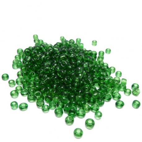 10g Skleněné korálky 3mm - rokajl tmavě zelené