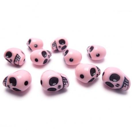 10ks Lebka růžová plastová