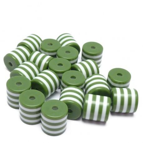 20ks - Plastové válečky zelené pruhované 8x6mm