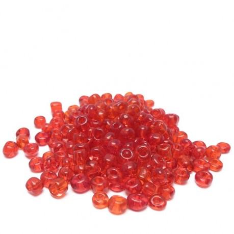 10g Skleněné korálky 4mm - rokajl červené