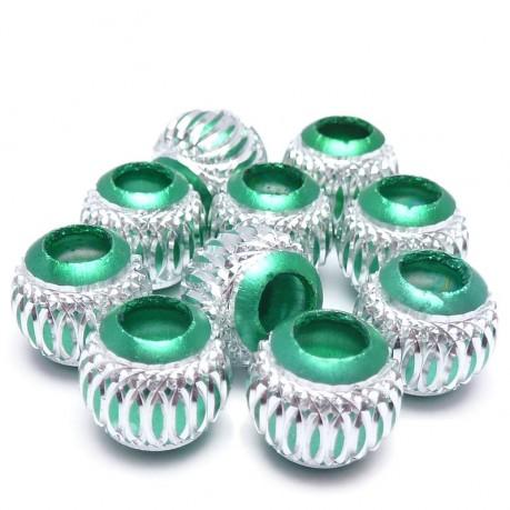 10ks Hliníkové korálky 10mm zelené