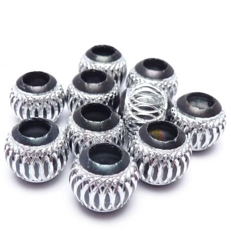 10ks Hliníkové korálky 10mm černé