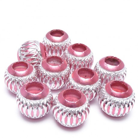 10ks Hliníkové korálky 10mm růžové