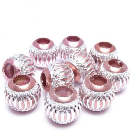 10ks Hliníkové korálky 10mm světle růžové