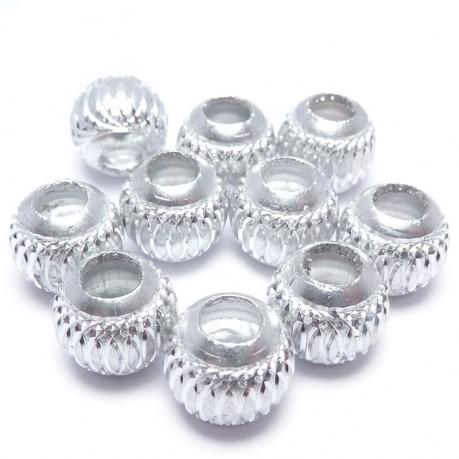 10ks Hliníkové korálky 10mm stříbrné