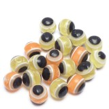 20ks Plastový korálek OKO 6x5mm oranžové, žluté