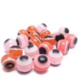 20ks Plastový korálek OKO  6x5mm růžové, červené