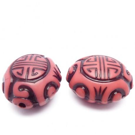 2ks Plastový korálek  mystické znaky – růžový