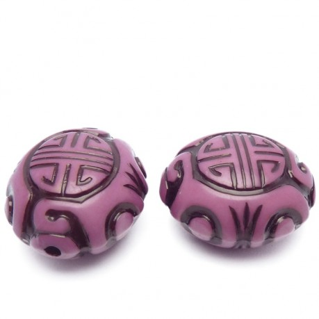 2ks Plastový korálek  mystické znaky – fialový