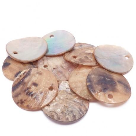 10ks Perleťové placky – penízky 15mm světle hnědé