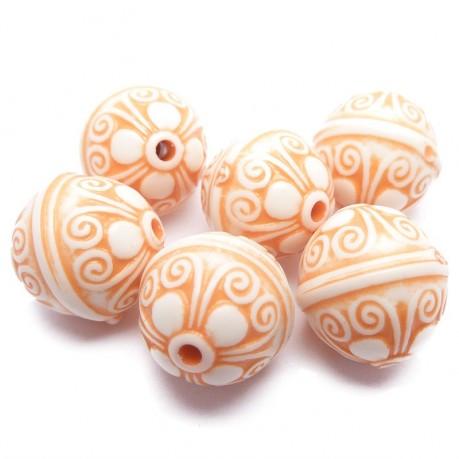 6ks Plastové korálky antický vzor  oranžová