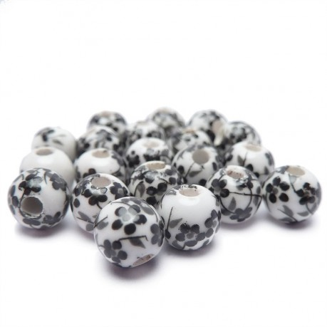 20ks Porcelánové korálky 6mm bílé s černým vzorem květin