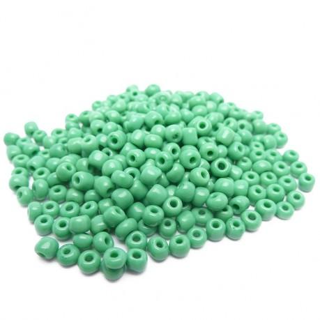 10g Skleněné korálky 3mm – rokajl matně zelené