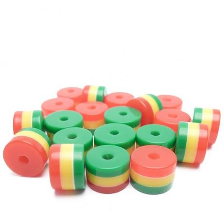 20ks - Plastový korálek váleček s pruhy červené, žluté, zelené barvy 8x6mm