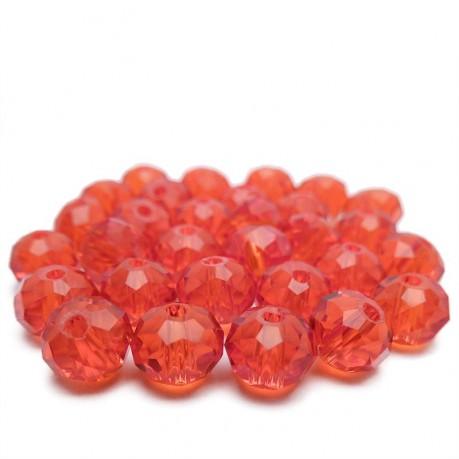 30ks Skleněné korálky broušené ~ 6mm tmavě červené
