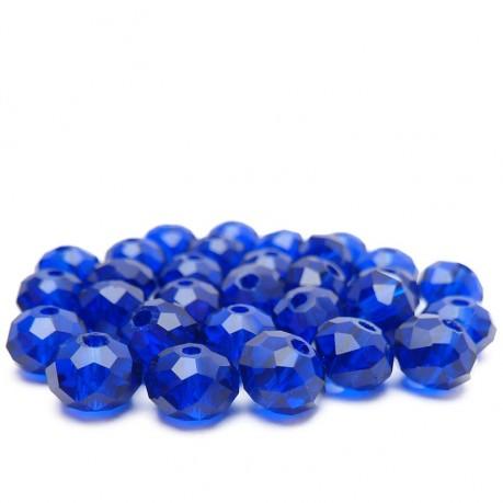 30ks Skleněné korálky broušené ~ 6mm modré