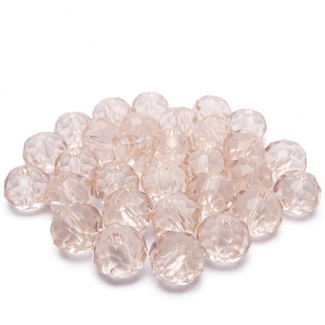 30ks Skleněné korálky broušené ~ 6mm růžové