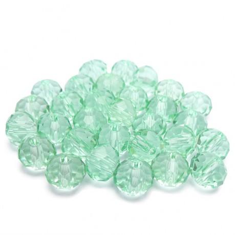 30ks Skleněné korálky broušené ~ 6mm světle zelené