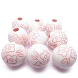 9ks Plastové korálky 18mm kulaté růžové