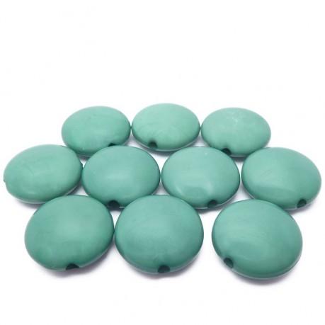 10ks Tmavě zelené lentilky plastové