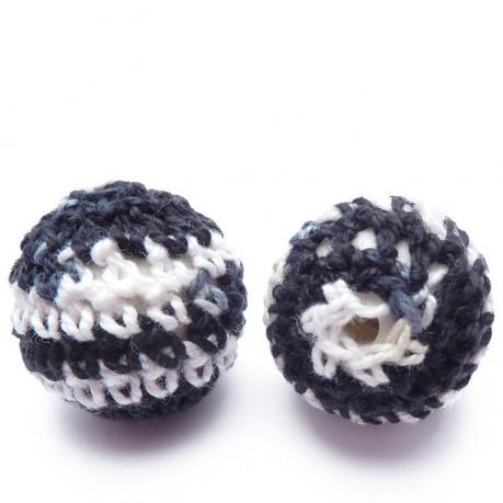 2ks Ručně háčkované korálky 21mm černé