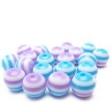 20ks Plastová kulička proužkovaná fialová, bílá, modrá 8mm