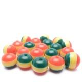 20ks Plastová kulička proužkovaná zelená, žlutá, červená 8mm