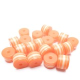 20ks - Plastový korálek váleček oranžový s bílými pruhy 8x6mm