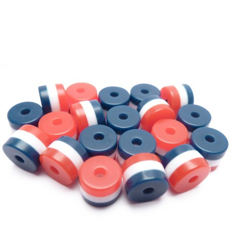 20ks - Plastový korálek váleček s modrými, bílými a červenými pruhy 8x6mm