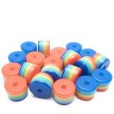 20ks - Plastový korálek váleček v barvách duhy 8x6mm