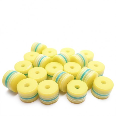 20ks - Plastový korálek váleček žlutý s barevnými pruhy 8x6mm