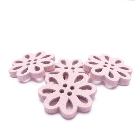 4ks Dřevěné kytičky 19x3mm světle růžové