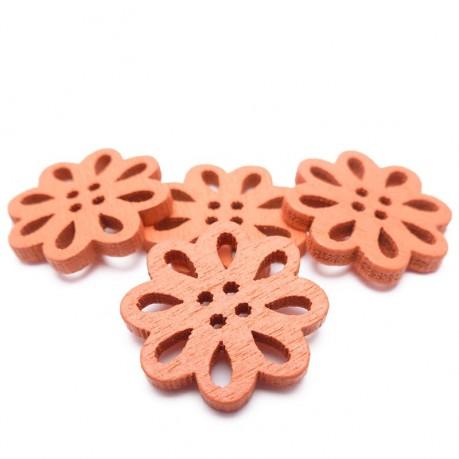 4ks Dřevěné kytičky 19x3mm oranžové