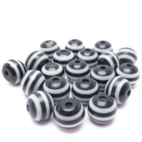 20ks Plastová kulička proužkovaná černá, bílá 8mm