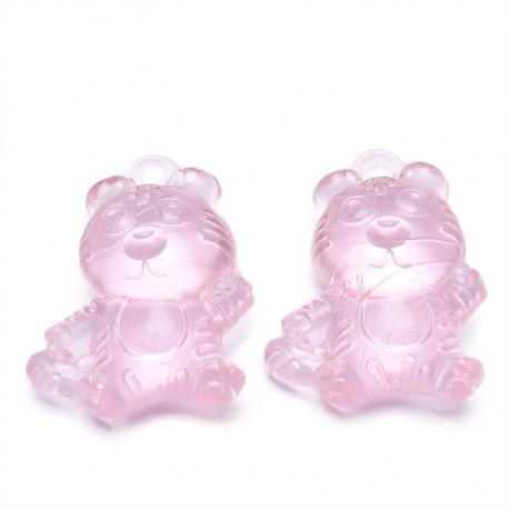 2ks Plastový přívěsek tygr světle růžový
