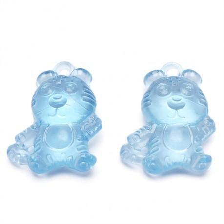 2ks Plastový přívěsek tygr modrý