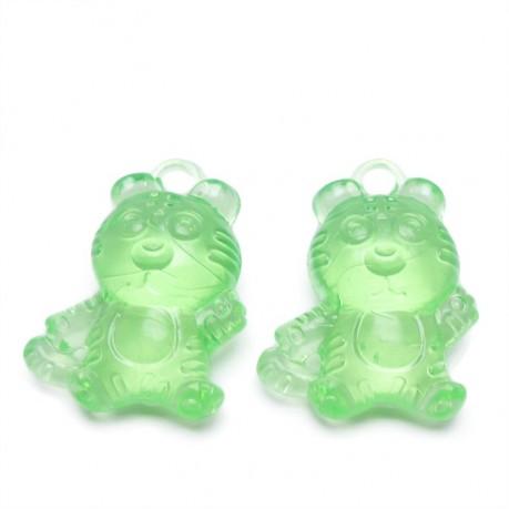 2ks Plastový přívěsek tygr zelený
