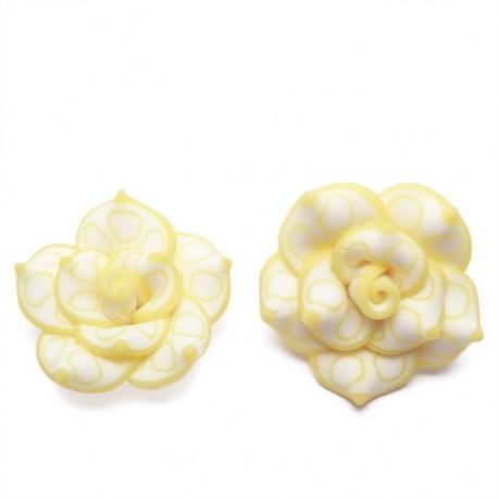 2Ks Fimo růže žlutá průměr 25mm