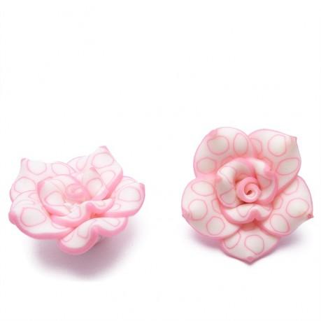 2Ks Fimo růže růžová průměr 25mm