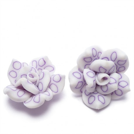 2Ks Fimo růže fialová průměr 25mm