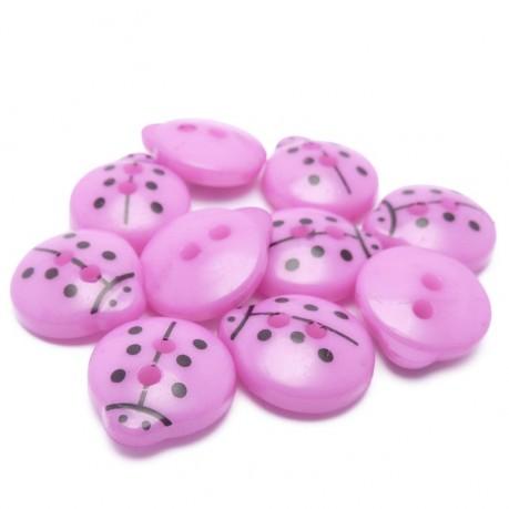 10ks Knoflíky plastové ve tvaru berušky fialové
