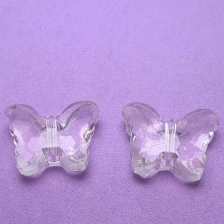 2ks Plastový motýlek průhledný