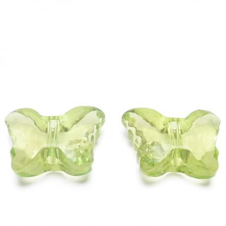 2ks Plastový motýlek  světle zelený