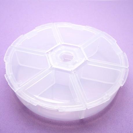 Plastový box, organizér na korálky kulatý 78mm - 6 přihrádek
