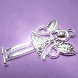 1ks Přívěsek velký anděl stříbrný 5,8cm
